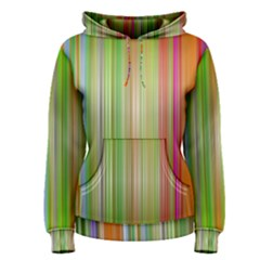Rainbow Stripes Vertical Colorful Bright Women s Pullover Hoodie