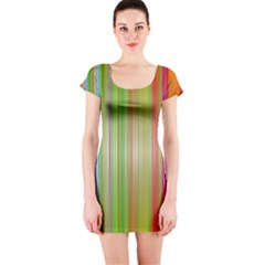 Rainbow Stripes Vertical Colorful Bright Short Sleeve Bodycon Dress
