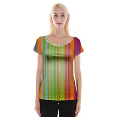 Rainbow Stripes Vertical Colorful Bright Cap Sleeve Tops