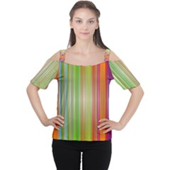 Rainbow Stripes Vertical Colorful Bright Cutout Shoulder Tee