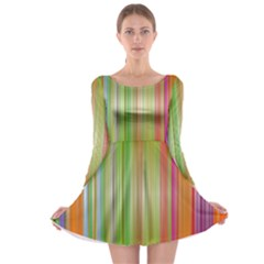 Rainbow Stripes Vertical Colorful Bright Long Sleeve Skater Dress