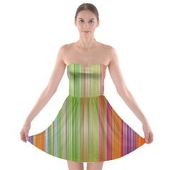 Rainbow Stripes Vertical Colorful Bright Strapless Bra Top Dress