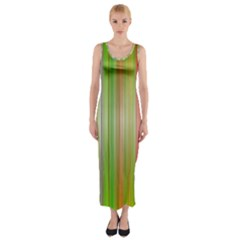 Rainbow Stripes Vertical Colorful Bright Fitted Maxi Dress