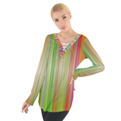 Rainbow Stripes Vertical Colorful Bright Tie Up Tee