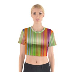 Rainbow Stripes Vertical Colorful Bright Cotton Crop Top