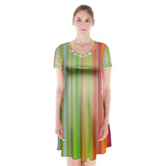 Rainbow Stripes Vertical Colorful Bright Short Sleeve V Neck Flare Dress
