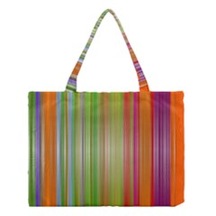 Rainbow Stripes Vertical Colorful Bright Medium Tote Bag