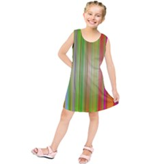 Rainbow Stripes Vertical Colorful Bright Kids  Tunic Dress