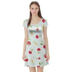 Root Vegetables Pattern Carrots Short Sleeve Skater Dress