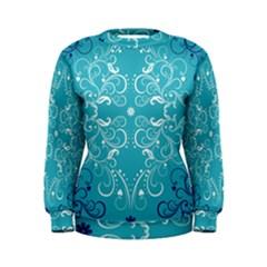 Repeatable Patterns Shutterstock Blue Leaf Heart Love Women s Sweatshirt
