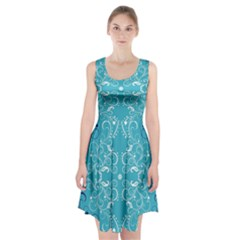 Repeatable Patterns Shutterstock Blue Leaf Heart Love Racerback Midi Dress