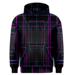 Retro Neon Grid Squares And Circle Pop Loop Motion Background Plaid Purple Men s Pullover Hoodie