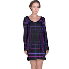 Retro Neon Grid Squares And Circle Pop Loop Motion Background Plaid Purple Long Sleeve Nightdress