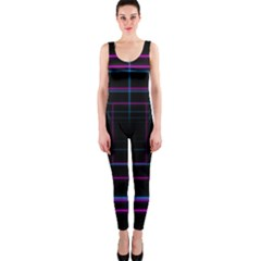 Retro Neon Grid Squares And Circle Pop Loop Motion Background Plaid Purple Onepiece Catsuit