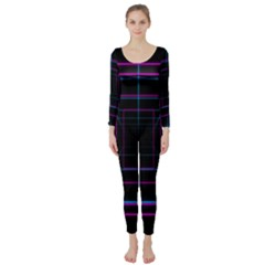 Retro Neon Grid Squares And Circle Pop Loop Motion Background Plaid Purple Long Sleeve Catsuit