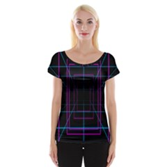 Retro Neon Grid Squares And Circle Pop Loop Motion Background Plaid Purple Cap Sleeve Tops