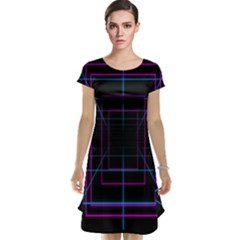 Retro Neon Grid Squares And Circle Pop Loop Motion Background Plaid Purple Cap Sleeve Nightdress
