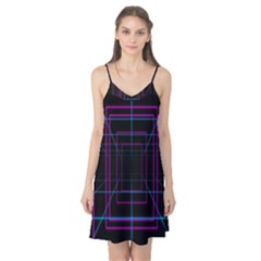 Retro Neon Grid Squares And Circle Pop Loop Motion Background Plaid Purple Camis Nightgown