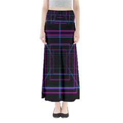 Retro Neon Grid Squares And Circle Pop Loop Motion Background Plaid Purple Full Length Maxi Skirt
