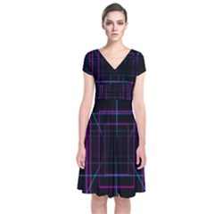 Retro Neon Grid Squares And Circle Pop Loop Motion Background Plaid Purple Short Sleeve Front Wrap Dress