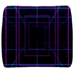 Retro Neon Grid Squares And Circle Pop Loop Motion Background Plaid Purple Back Support Cushion