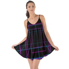 Retro Neon Grid Squares And Circle Pop Loop Motion Background Plaid Purple Love The Sun Cover Up