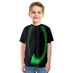 Rotating Ring Loading Circle Various Colors Loop Motion Green Kids  Sport Mesh Tee
