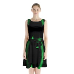 Rotating Ring Loading Circle Various Colors Loop Motion Green Sleeveless Waist Tie Chiffon Dress