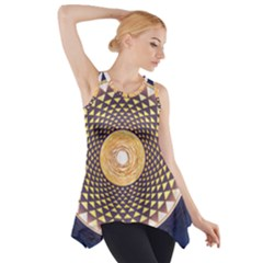 Sahasrara Blue Side Drop Tank Tunic
