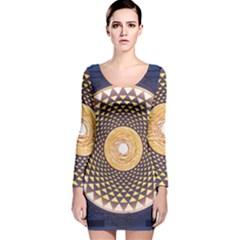 Sahasrara Blue Long Sleeve Velvet Bodycon Dress