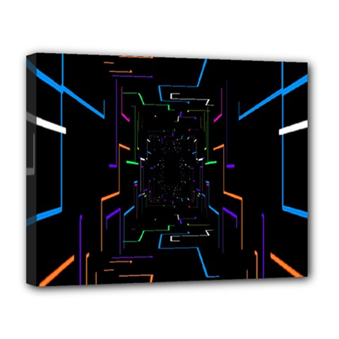 Seamless 3d Animation Digital Futuristic Tunnel Path Color Changing Geometric Electrical Line Zoomin Canvas 14  X 11