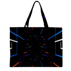 Seamless 3d Animation Digital Futuristic Tunnel Path Color Changing Geometric Electrical Line Zoomin Mini Tote Bag