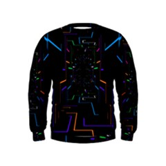 Seamless 3d Animation Digital Futuristic Tunnel Path Color Changing Geometric Electrical Line Zoomin Kids  Sweatshirt