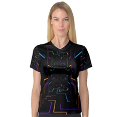 Seamless 3d Animation Digital Futuristic Tunnel Path Color Changing Geometric Electrical Line Zoomin V Neck Sport Mesh Tee