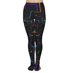 Seamless 3d Animation Digital Futuristic Tunnel Path Color Changing Geometric Electrical Line Zoomin Women s Tights