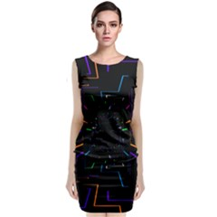 Seamless 3d Animation Digital Futuristic Tunnel Path Color Changing Geometric Electrical Line Zoomin Classic Sleeveless Midi Dress