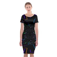Seamless 3d Animation Digital Futuristic Tunnel Path Color Changing Geometric Electrical Line Zoomin Classic Short Sleeve Midi Dress