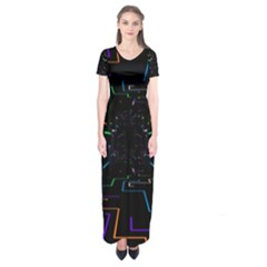Seamless 3d Animation Digital Futuristic Tunnel Path Color Changing Geometric Electrical Line Zoomin Short Sleeve Maxi Dress