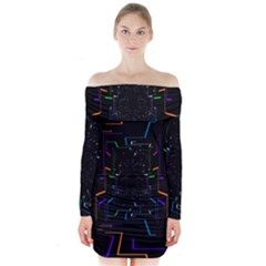 Seamless 3d Animation Digital Futuristic Tunnel Path Color Changing Geometric Electrical Line Zoomin Long Sleeve Off Shoulder Dress