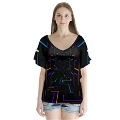 Seamless 3d Animation Digital Futuristic Tunnel Path Color Changing Geometric Electrical Line Zoomin V Neck Flutter Sleeve Top
