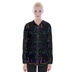 Seamless 3d Animation Digital Futuristic Tunnel Path Color Changing Geometric Electrical Line Zoomin Womens Long Sleeve Shirt