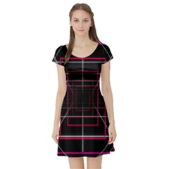 Retro Neon Grid Squares And Circle Pop Loop Motion Background Plaid Short Sleeve Skater Dress