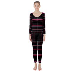 Retro Neon Grid Squares And Circle Pop Loop Motion Background Plaid Long Sleeve Catsuit