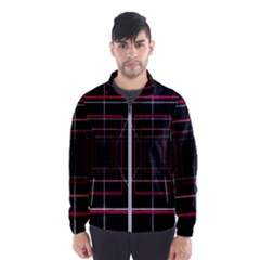 Retro Neon Grid Squares And Circle Pop Loop Motion Background Plaid Wind Breaker (men)