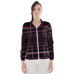 Retro Neon Grid Squares And Circle Pop Loop Motion Background Plaid Wind Breaker (women)