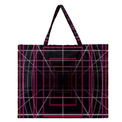 Retro Neon Grid Squares And Circle Pop Loop Motion Background Plaid Zipper Large Tote Bag