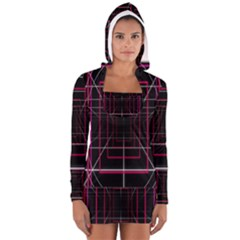 Retro Neon Grid Squares And Circle Pop Loop Motion Background Plaid Long Sleeve Hooded T Shirt
