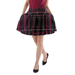 Retro Neon Grid Squares And Circle Pop Loop Motion Background Plaid A Line Pocket Skirt