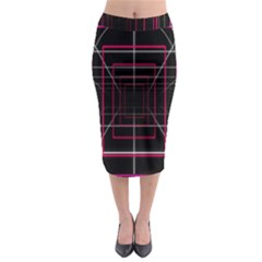 Retro Neon Grid Squares And Circle Pop Loop Motion Background Plaid Midi Pencil Skirt
