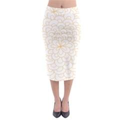 Rosette Flower Floral Midi Pencil Skirt